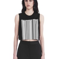EXCLUSIVE CREWNECK CROP TOP WITH BONDED BARCODE | TANK | Alexander Wang Official Site
