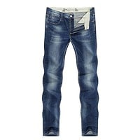 Men's Jeans Classic Direct Stretch Dark Blue Business Casual Denim Pants Slim Straight Long Trousers Gentleman Cowboys