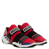 Giuseppe Zanotti Gz Jump R18 Red And Blue Fabric Sneaker With Elastic Bands