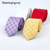 Polyester Floral Printed Necktie Ties For Mens Wedding Marriage Gravatas Fashion Neckties Tie For Men