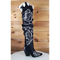 CR Kelsey 21 Rock Star Black & White Western Slouch OTK Thigh High Cowboy Boot