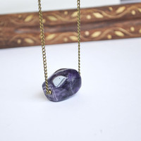 Amethyst Single Stone Necklace, Purple Nugget Stone Necklace, Amethyst Jewelry, February Stone Aquarius