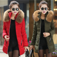 New Women's Winter Down Jacket Hooded Fur Collar Parka Coat Warm Outerwear Red Black Green 3 Colors = 1931720964