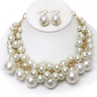 Chunky Pearl Necklace and Earrings