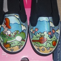 Hand Painted Slip On Shoes Yoshi's Island ANY by ParadoxArtistry
