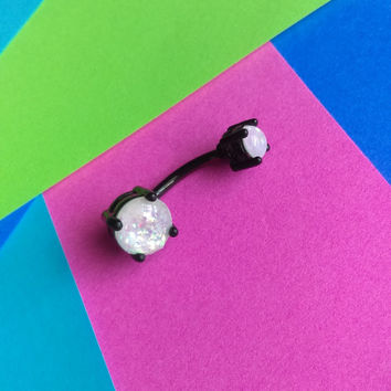 Sparking Glitter White Opal Black Belly Ring Body Jewelry Navel Jewelry