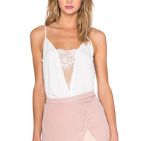 Mason by Michelle Mason x REVOLVE Lace Inset Cami in Ivory