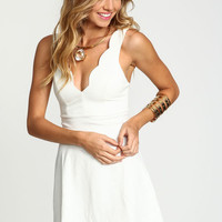 Ivory Scallop Plunge Flare Dress