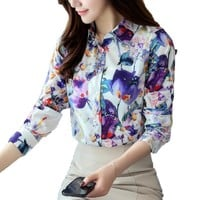 Women Blouses Turn Down Collar Floral Print Fashion Blouse Long Sleeve Shirt Women Camisas Femininas Womens Tops and Blouses