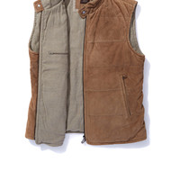 Gimo's Portillo Quilted Suede Vest in Sand - AXEL'S