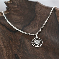 Silver Compass Rose Pendant Necklace, True North Necklace, Journey