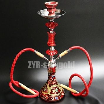 Color options narguile hookah set complete chicha 2 hoses glass nargile with ceramic bowl 52.8cm shisha water smoking pipe
