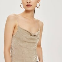 Metal Yarn Cowl Neck Camisole Top - All Dressed Up - Clothing