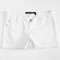 Scissor Fray Edge Girls Denim Shorts White  In Sizes