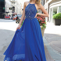 Spaghetti Straps Prom Dresses,Blue Prom Dress,Long Evening Dress