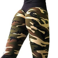 FNMM 2018 Green Camo Sport Pants Fitness Seamless Workout Women Yoga Leggings 3D Print Sexy Hip Push Up Pants Tights Gym Jegging