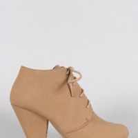 Women's Round Toe Lace Up Heeled Oxford Booties