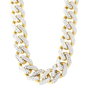 """14k Yellow And White Gold Miami Cuban Pave Link Chain Necklace, Width 11.3mm, 24"""""""