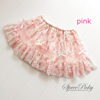 Super Pastel Cute Floral Grenadine Embroidery Lace Skirt Free Shipping SP140478