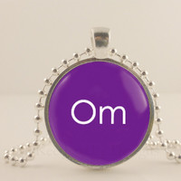"""Om, ohm, purple, 1"""" glass and metal Pendant necklace Jewelry."""