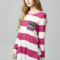 Sailor Stripes Knit Tunic Top - Pink