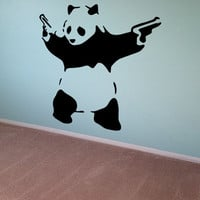 Banksy Wall Decal Panda Guns Wall Art Wall Sticker Vinyl Poster Graffiti Street Art