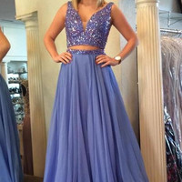A-Line Two Piece Beading Prom Dresses,Prom Dress