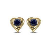 14K Yellow Gold Round Sapphire Heart Shaped Earrings