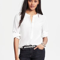 White Silk Snap-Front Blouse