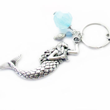 Beach Keychain with Mermaid Charm