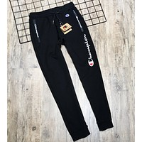 Champion New fashion embroidery letter keep warm couple pants Black