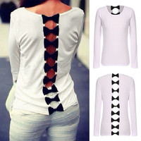 White Bow Back Long-Sleeve Shirt