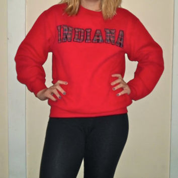 90s Plaid Indiana University Hoosier Crewneck Sweatshirt, Red 1990s IU Pullover Sweater
