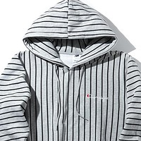 Champion Woman Men Fashion Edgy Embroidery Sport Stripe Long Sleeve Hoodie Shirt Sweater Top Tee Grey