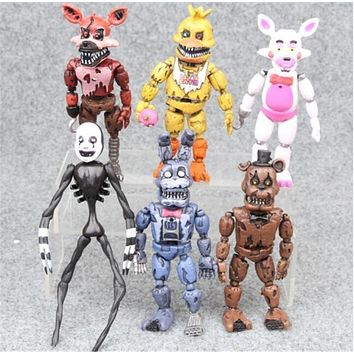 6pcs/Set 17cm Five Nights At Freddy's figure FNAF Bonnie Foxy Freddy Fazbear Bear Doll PVC Action Toy Figures