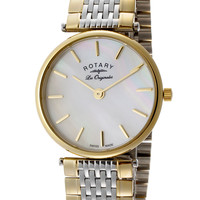 Rotary LB90001-41 Watches,Women's White Mother Of Pearl Dial Two Tone Stainless Steel, Women's Rotary Quartz Watches