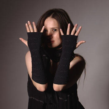 Charcoal Arm Warmers Bracelets - Pure Merino