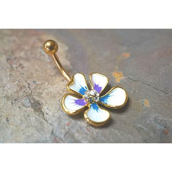 White Hibiscus Flower Belly Button Ring