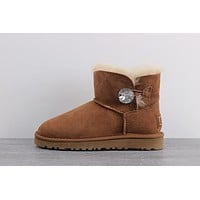 Ugg 1006553 3889 Classic Mini Bailey Button Bling Boot Snow Boots #1