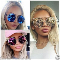 Round Metal Frame Mirrored Reflective Large Oversized Lenses Women Sunglasses