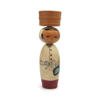 Vintage Small 2.75 in Japanese Kokeshi Doll w/ Basket on Head - Nodder Bobblehead Signed & Stamped Wood Wooden Asian Folk Art Made in Japan