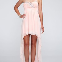 Strapless Chiffon High Low Dress with Beading - David's Bridal - mobile