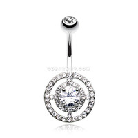 Dazzling Orbit Sparkle Belly Button Ring (Clear)