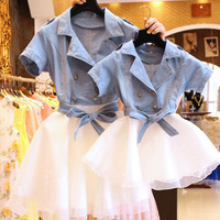 Mother Daughter Dresses Fashion short sleeved Family Look Matching Clothes Cotton Mom And Daughter Dress Family Clothing