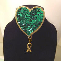 Applique Style Pin Brooch with Teal Green Sequins and an Antiqued Gold Plated Hope Ribbon Charm for Ovarian Cancer Awareness // 867