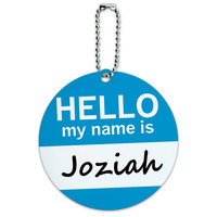 Joziah Hello My Name Is Round ID Card Luggage Tag