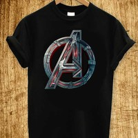 The Avengers Age of Ultron Logo T Shirt Black and White for Men or Women Short Sleeve AV2-Logo