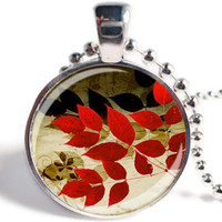 Autumn Leaves Pendant, Fall  Necklace, Fall Jewelry Trends, Glass Pendant Necklace (AL01)