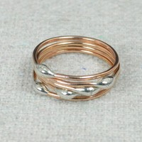 Rose Gold and Silver Dew Drop Rings