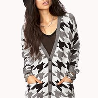 FOREVER 21 Standout Houndstooth Cardigan Cream/Grey